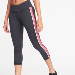 Dark Grey with Pink Stripe Cropped Leggings